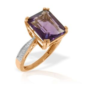 GOLD RING WITH NATURAL DIAMONDS & AMETHYST